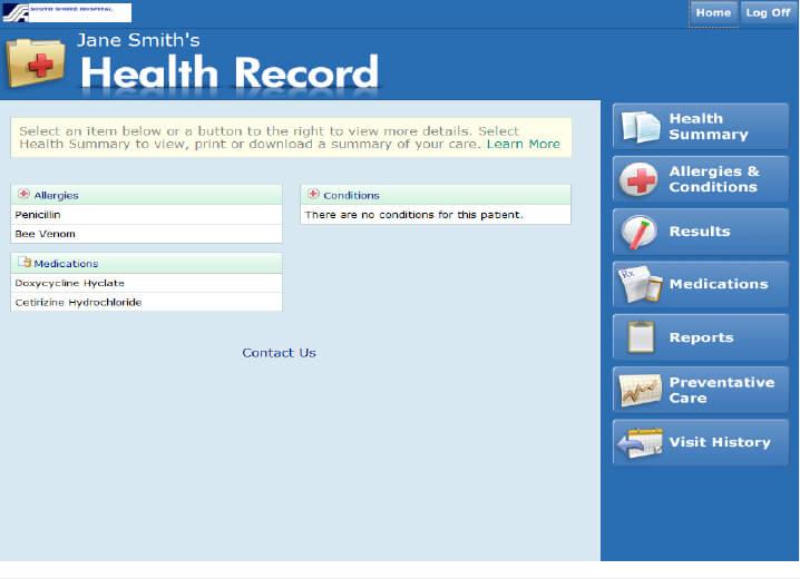 My Health Patient Portal Screen Shot