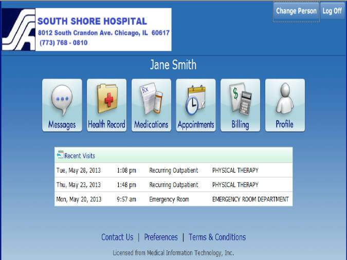 My Health Patient Portal Screen Shot